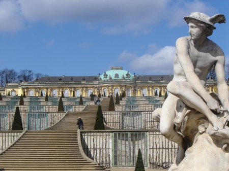 Mercury Tying His Sandals, by Jean-Baptiste Pigalle, at Sans-Souci Castle near Berlin, Germany.