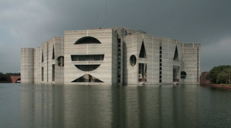 The National Assembly building in Dhaka, Bangladesh.