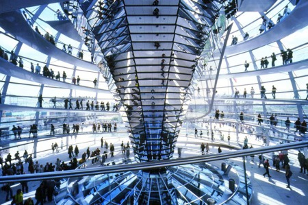 An interior view of the renovated Reichstag, by Norman Foster, in Berlin, Germany.