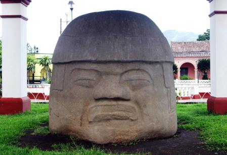Olmec colossal head in Santiago Tuxla Plaza, Mexico.