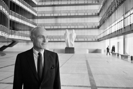 A photograph of Philip Johnson at the New York State Theater (now the David H. Koch Theater), Lincoln Center, New York, from about 1964.