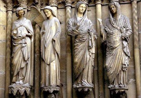 Relief sculptures at Reims Cathedral, Reims, France.