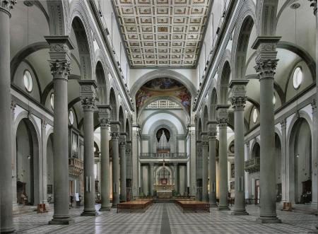 The Basilica of San Lorenzo, in Florence, Italy, was designed by Fillipo Brunelleschi.
