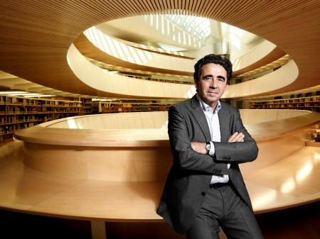 An undated photo of Santiago Calatrava inside one of his creations.