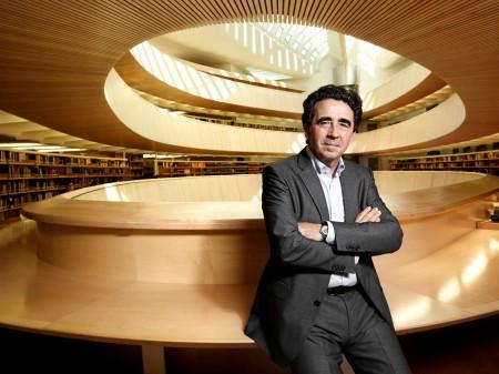 An undated photo of Santiago Calatrava inside one of his creations.