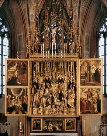 A view of the St. Wolfgang Altarpiece, by Michael Pacher, in Abersee, Austria.