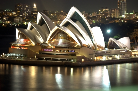 A night view of the Sydney Opera House in Sydney, Australia.