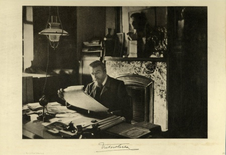 A photograph of Victor Horta at work from about 1900.