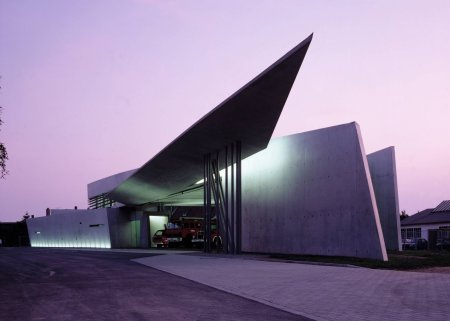 Vitra Fire Station, by Zaha Hadid, in ___, Germany.