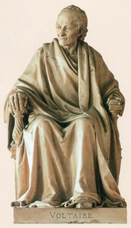 Voltaire, Seated, by Jean-Pierre Houdon, in the Comédie-Française, Paris, France.