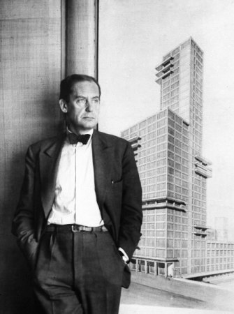 A 1933 photograph of Walter Gropius, shown with his proposed design for the Chicago Tribune tower. (AP Photo)