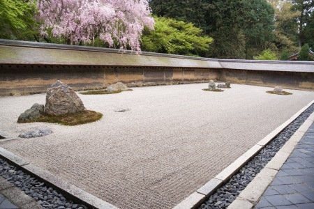 The Zen garden at the Ryoan-ji Temple in Kyoto, Japan.