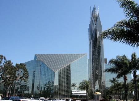 Crystal Cathedral (1981). Architect: Philip Johnson. Location: Garden Grove, California.  Style/Period: Postmodernism.