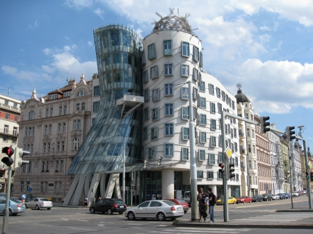 The Dancing House, in Prague, Czech Republic, was designed by Frank Gehry and Vlado Mincinuic.