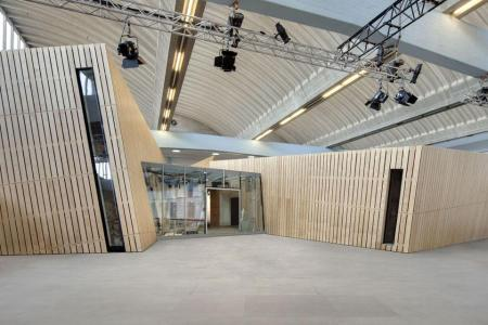 The interior of the Daniel Libeskind-designed Danish Jewish Museum, in Copenhagen, Denmark,