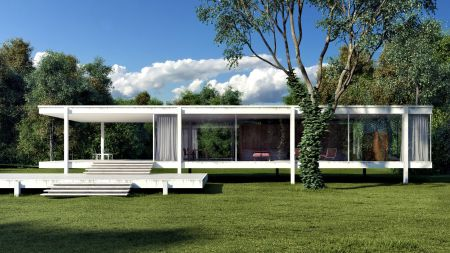 Farnsworth House (1951). Architect: Ludwig Mies van der Rohe. Location: Plano, Illinois.