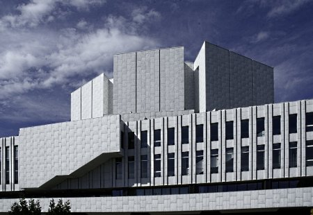 Finlandia Hall, in Helsinki, Finland, was designed by Alvar Aalto.