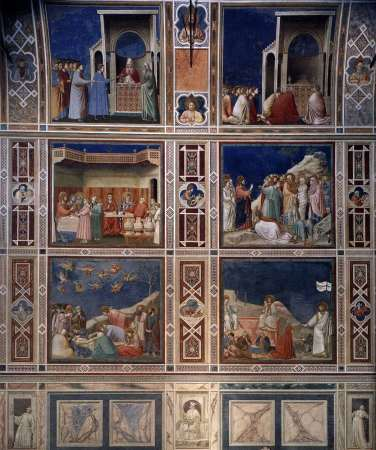 Frescoes by Giotto in the Arena (or Scrovegni) Chapel in Padua, Italy.