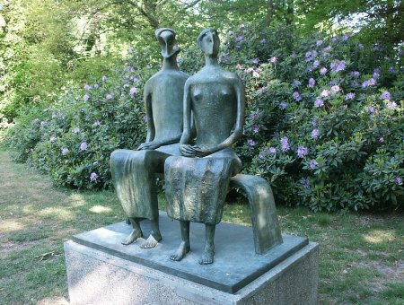 King and Queen, by Henry Moore, at the Middleheim Open Air Museum in Antwerp, Belgium.