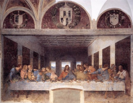 The Last Supper, by Leonardo da Vinci, is located on a wall of the Convent of Santa Maria delle Grazie in Milan, Italy.