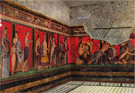 Frescoes from the Villa of the Mysteries, near Pompeii, Italy.