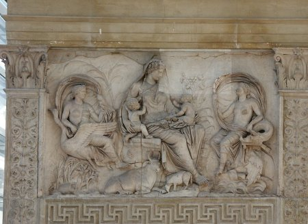 A relief sculpture from the eastern façade of the Ara Pacis Augustae.