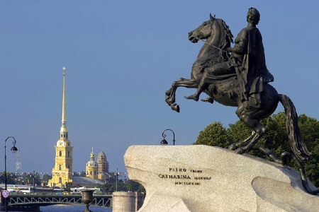 Falconet's Monument to Peter the Great, in St. Petersburg.