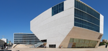 Casa da Música, designed by Rem Koolhaas, is located in Porto, Portugal.