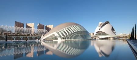 The City of Arts and Sciences, a complex of cultural buildings in Valencia, Spain, was designed by Santiago Calatrava and Félix Candela.