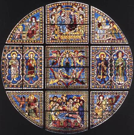 Stained glass by Duccio in Siena Cathedral.
