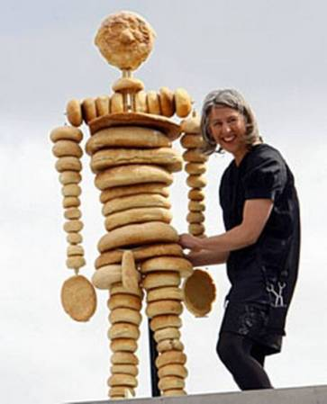 Amanda Hall, who built a human figure out of bread, was one of 2,400 UK citizens who occupied the fourth plinth in Trafalgar Square for one hour each in Antony Gormley's 2009 project One & Other.