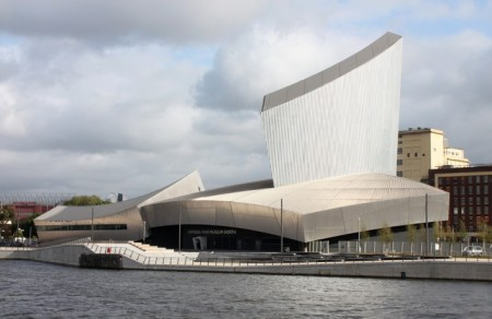The Imperial War Museum North was designed by Daniel Libeskind and is located in Manchester, UK.