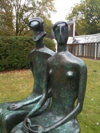 Henry Moore's King and Queen at the Henry Moore Foundation in Perry Green, UK.