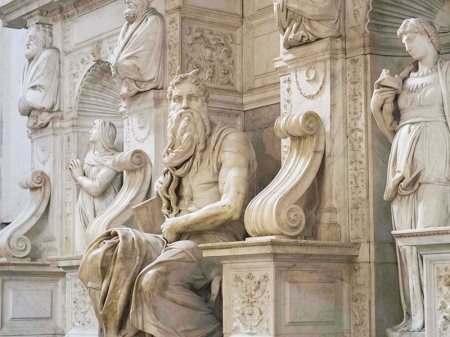 Michelangelo's Moses in San Pietro Church, Vincoli, Italy.