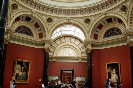 An interior view of the National Gallery in London.