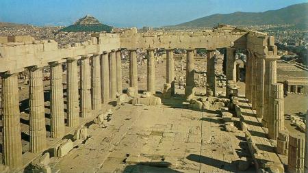 The interior of the Parthenon.