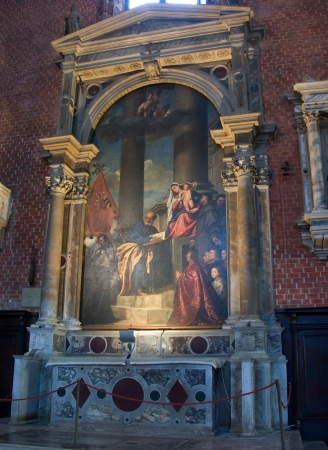 The Pesaro Madonna, by Titian, is located in the Church of Santa Maria Gloriosa Dei Frari in Venice.