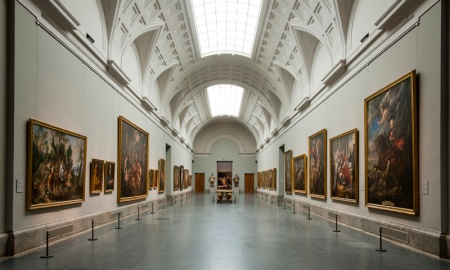 An interior view of the Museo del Prado in Madrid, Spain.
