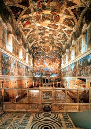 A view of the Sistine Chapel, showing the altar wall ceiling by Michelangelo and the wall frescoes by Raphael, Perugino and others.