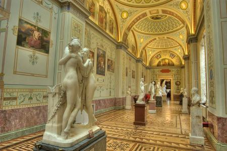 An interior view of the State Hermitage Museum in St. Petersburg, Russia.