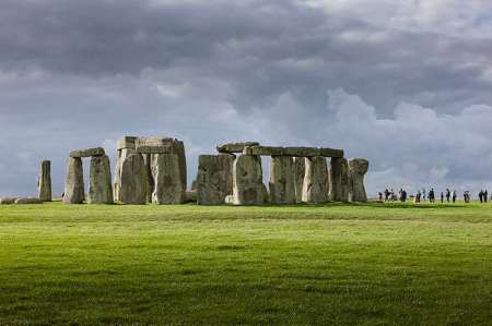 A view of Stonehenge, on Salisbury Plain, UK.
