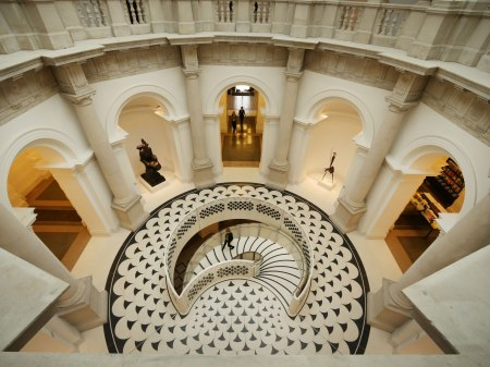 An interior view of Tate Britain in London.