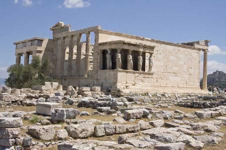 The Erechtheion on the Acropolis in Athens.