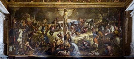 Tintoretto's Crucifixion is located in the Scuola di Rocco in Venice.