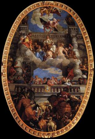 The Triumph of Venice, by Paolo Veronese, is located on the ceiling of the Great Council Hall in the Doge's Palace.