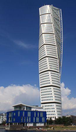 Located in Malmö, Sweden, Turning Torso was designed by Santiago Calatrava.