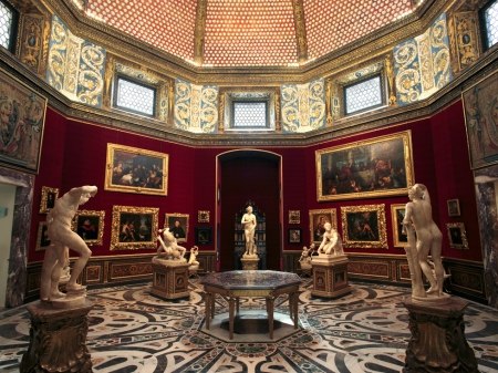 An interior view of the Uffizi Gallery in Florence.