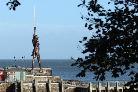 Verity, by Damien Hirst, is located at Ilfracombe, UK.
