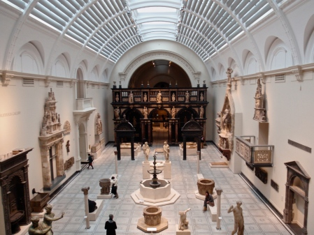 An exhibit hall at the Victoria and Albert Museum in London.