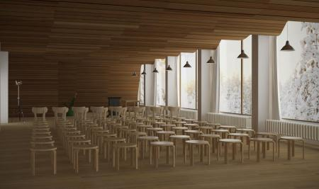 A interior view of the Vyborg Municipal Library, designed by Alvar Aalto.